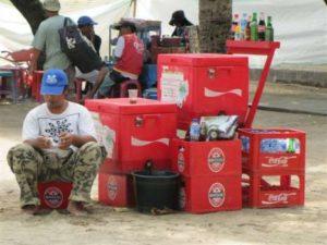 Strand verkopers op Bali